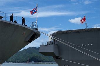 俄罗斯海军舰队访问日本 和日本进行联合演习