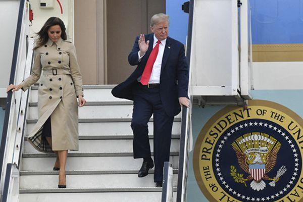 特朗普夫妇抵达比利时将出席北约峰会 美第一夫人气场十足
