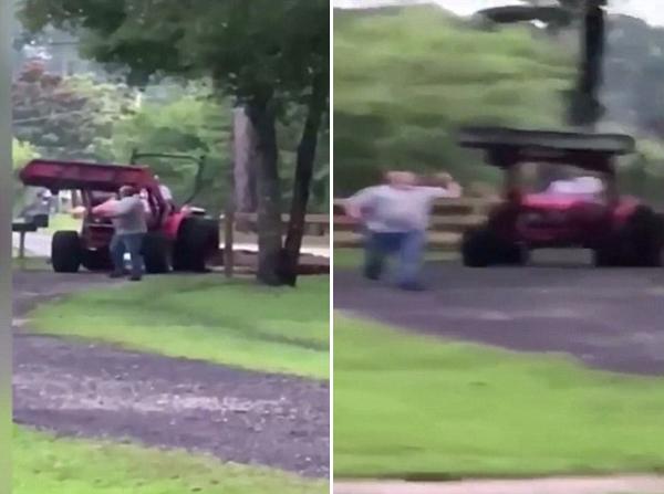 美老人与邻居发生争执 开拖拉机欲将其撞死