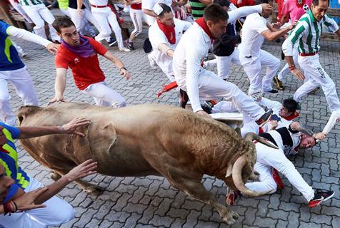 西班牙奔牛节人牛街头上演精彩追逐战
