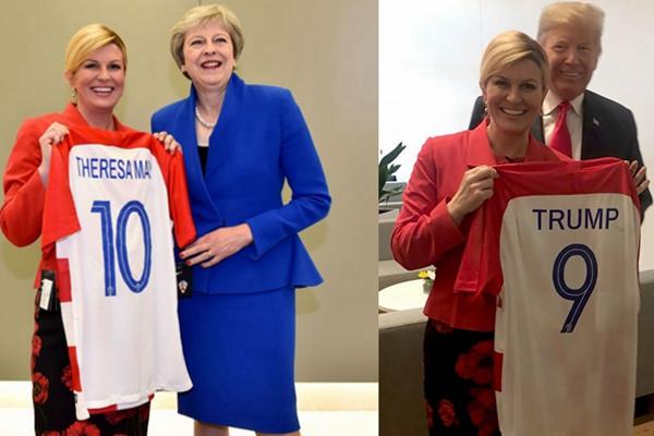 克罗地亚美女总统世界杯赛前送球衣 特朗普梅姨人手一件