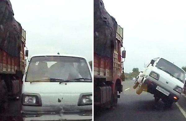 印面包车夺命超车被卡车撞后惊险180度转弯