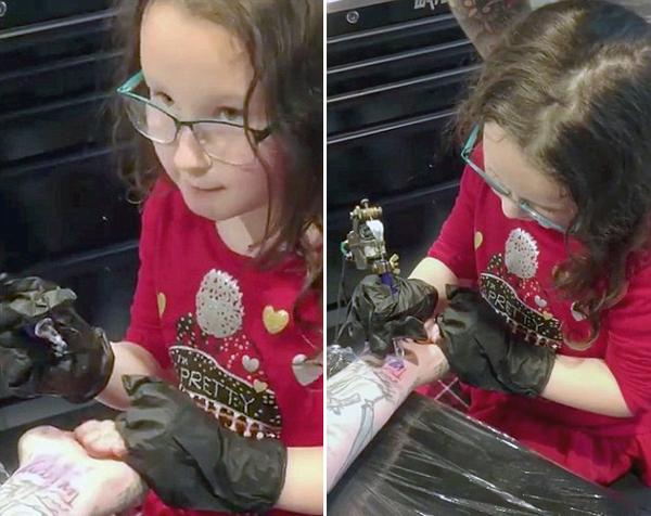 美一音乐家让六岁女儿为其纹身 镜头记录全程