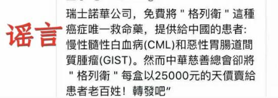 """中华慈善总会天价售卖救命药""""格列卫""""?这是谣言!"""