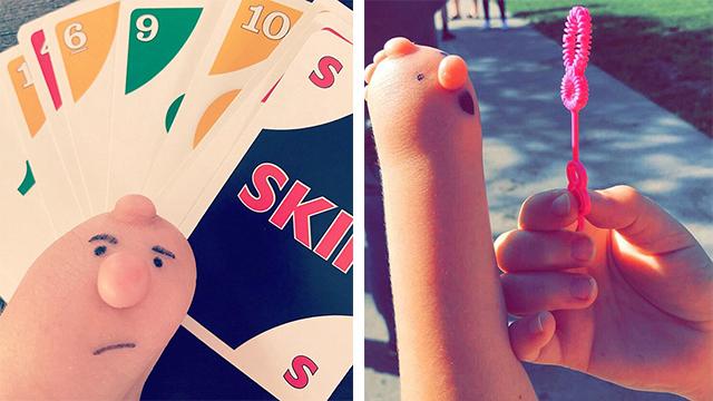 美国女孩为畸形手画搞笑表情编故事走红网络
