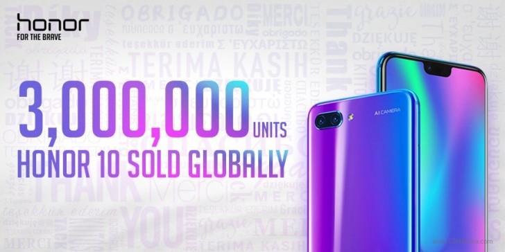 华为荣耀10销量极佳 全球销量已突破300万部