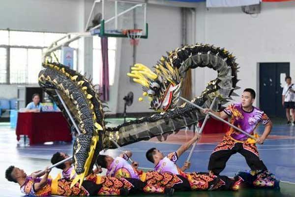 """发扬传统文化 千名大学生将民俗""""龙狮""""带入赛场"""