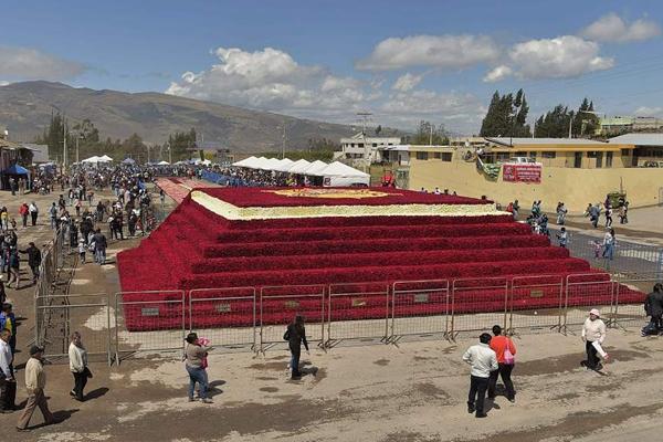 厄瓜多尔组5万朵巨大玫瑰金字塔 欲破吉尼斯世界纪录