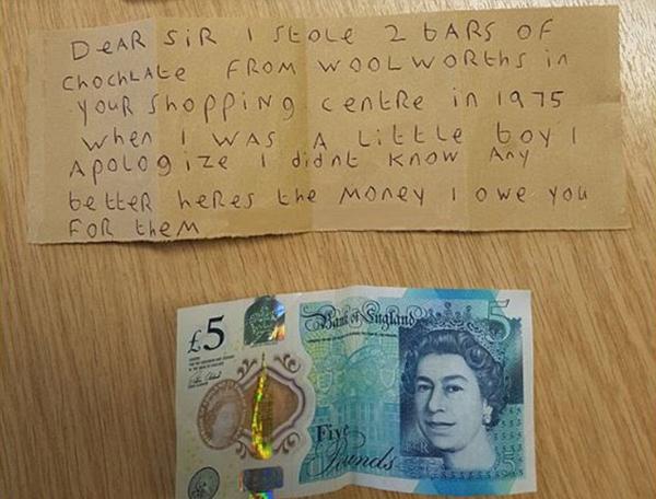英幼童偷走两块巧克力 45年后写道歉信并还钱