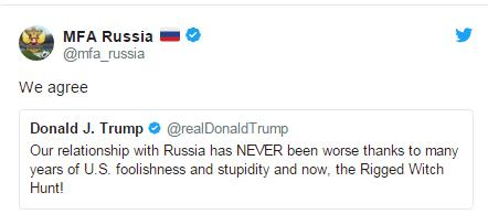 普特会前,俄外交部转发特朗普推特表支持,只因为这件事