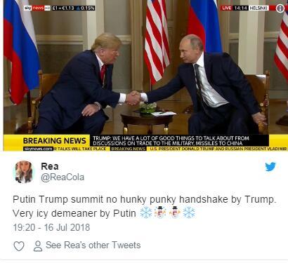 握手杀?没有的!外媒评普京特朗普握手情景 不像以往那么激烈