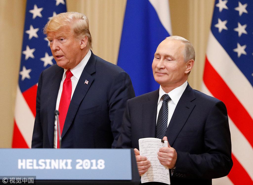 芬兰赫尔辛基:特朗普与普京出席联合记者会