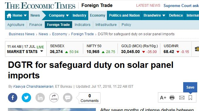 印度拟对中国和马来西亚太阳能产品加征25%税 为期两年逐年递减