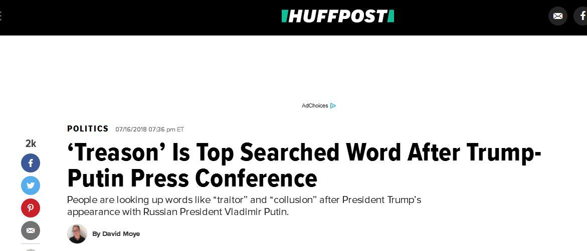"""特朗普公开""""羞辱""""本国情报机构 卖国贼、叛国者成美国热搜"""