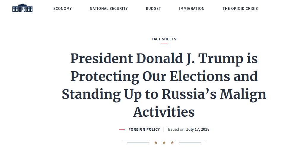 """""""叛国""""?白宫发千字声明力挺特朗普:他爱国 他抗俄"""