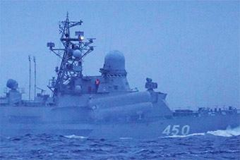 俄4艘导弹艇一早一晚通过宗谷海峡日昼夜监视
