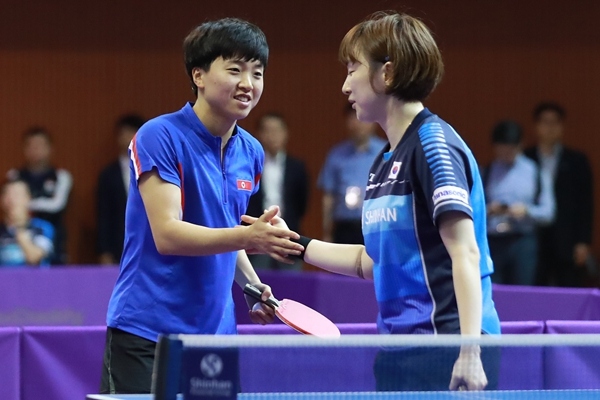 国际乒联韩国公开赛资格赛举行 韩朝女双联队亮相