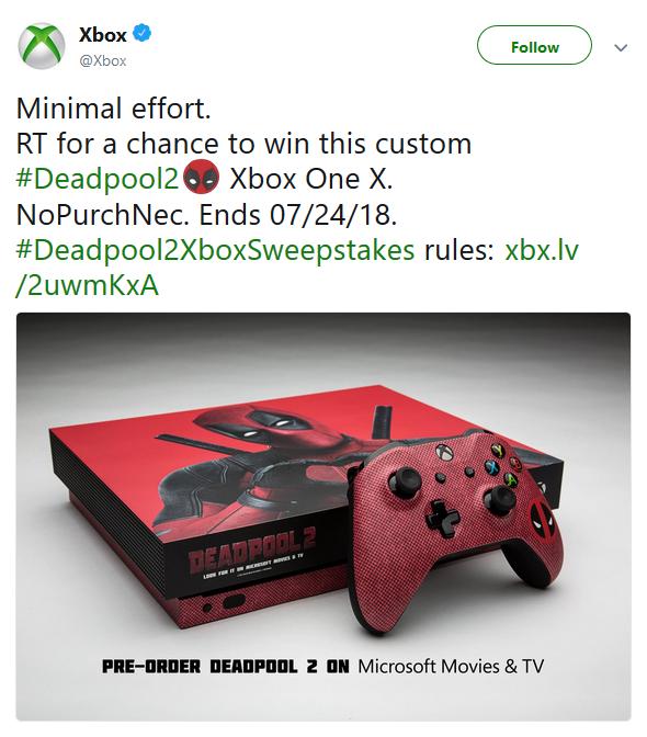 微软转发抽送《死侍2》主题定制限定主机