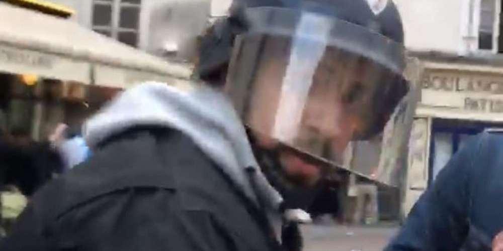马克龙保镖冒充警察打示威者 视频曝光遭全民指认
