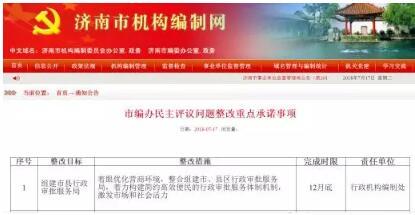 济南:将组建市县行政审批服务局