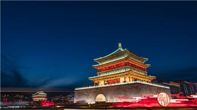 陕西西安:钟鼓楼夜色