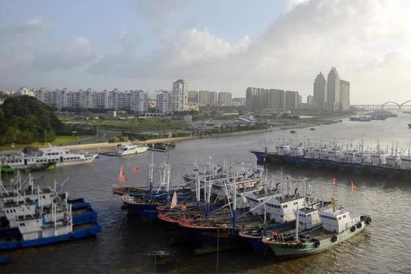 舟山:渔船归港避台风