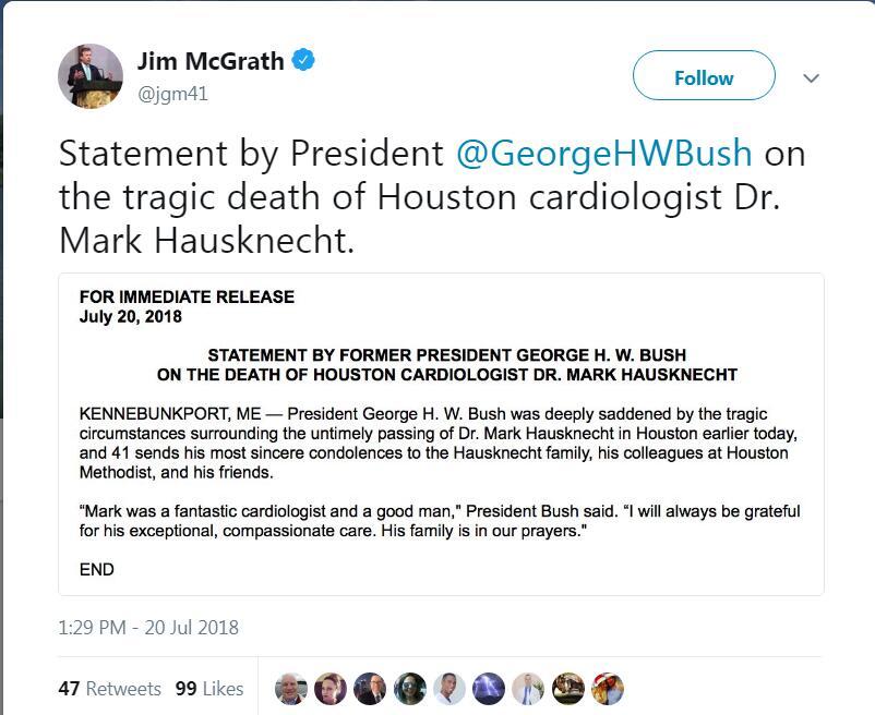 美国发生枪击案:受害者为区域代理商布局规划老布什心脏医生 身中两枪不治身亡