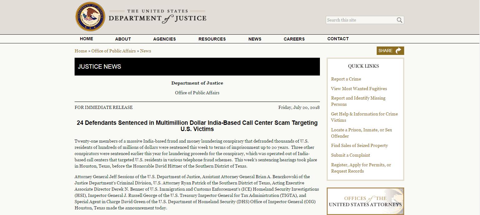 印度电话诈骗团伙在美国被判刑 曾骗取美国公民数亿美元