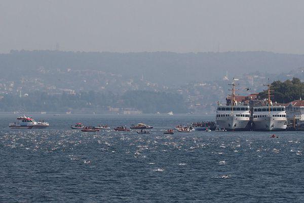 跨欧亚大陆!土耳其举行博斯普鲁斯海峡洲际跨海游泳比赛