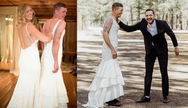 美新娘让哥哥穿婚纱见新郎缓解其紧张感