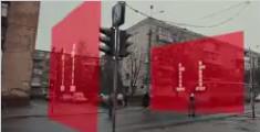 乌克兰街头的概念版增强现实红绿灯幕墙