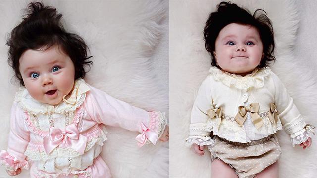英国8月大宝宝发量惊人 给20家公司当模特