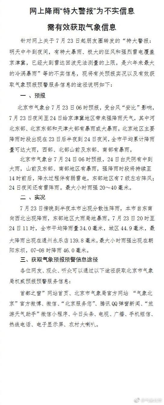 北京降雨特大警报?气象台紧急辟谣