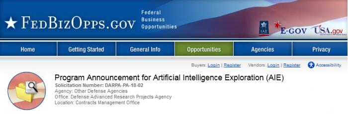 DARPA宣布AIE项目 将开发有解决问题能力的机器人