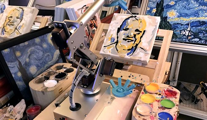 机器人艺术大赛落下帷幕 冠军机器人完美再现塞尚画作