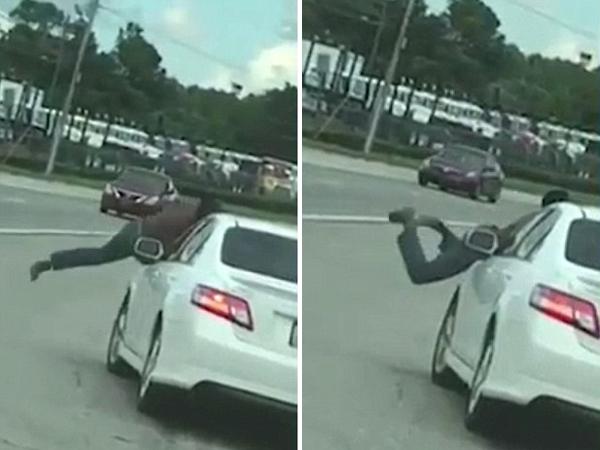 美赤膊男子跳上高速汽车趴引擎盖 疑似吸毒