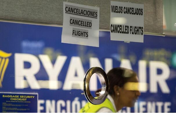 因机组人员罢工 瑞安航空在欧洲取消300个航班
