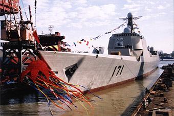 052C海口舰历史罕见下水图片曝光