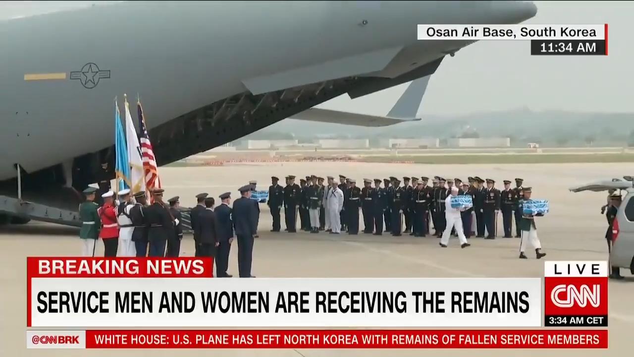 白宫:朝鲜已将美军遗骸移交美国 军机正从朝鲜返回
