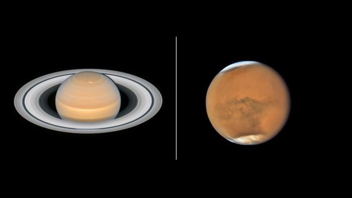 哈勃在火星和土星接近冲日时拍摄的令人惊叹图像