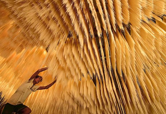 面条瀑布!实拍孟加拉国工人晒面条壮观场面