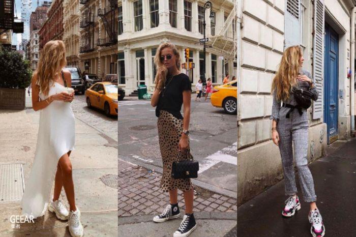 谁说球鞋只能街头风?这位女生只用球鞋就穿出各种时髦风格!
