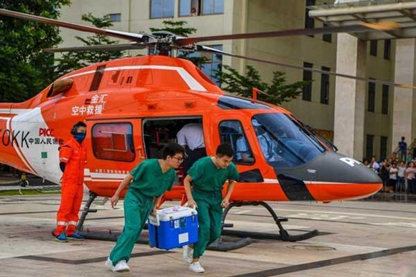 海南首次启用直升机进行捐赠移植器官转运