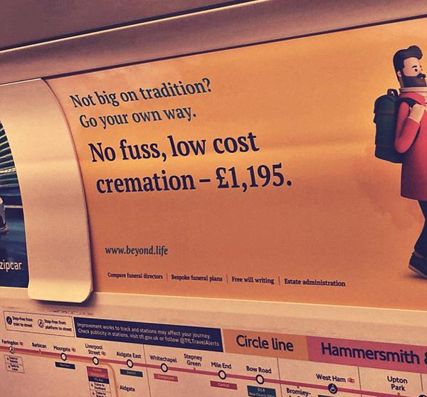 """伦敦地铁现""""低价无忧火化""""广告引发网友嘲讽"""
