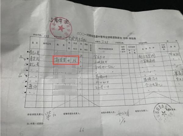 ▲录取审批表上,郭女士的出生年份被写错,为做更正说明,她跑了十几趟。