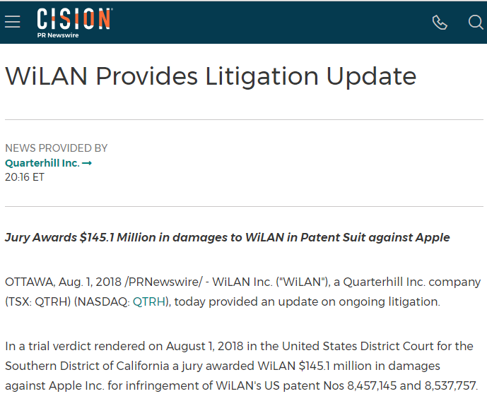 苹果侵犯WiLan两项专利 判赔1.451亿美元