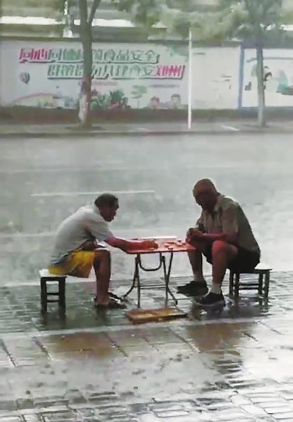 郑州俩老人暴雨中对弈成网红:当时关键局,未分出胜负