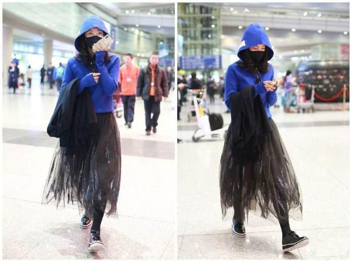 李冰冰真会穿 蓝色卫衣搭配黑色纱裙