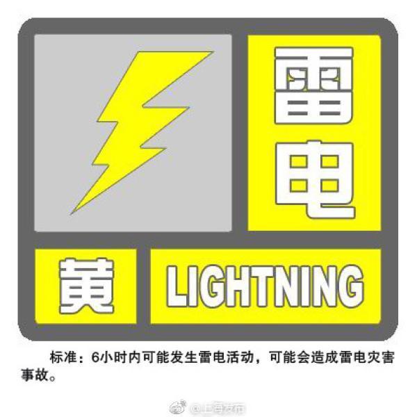 上海发布雷电黄色预警:预计6小时内将发生雷电活动