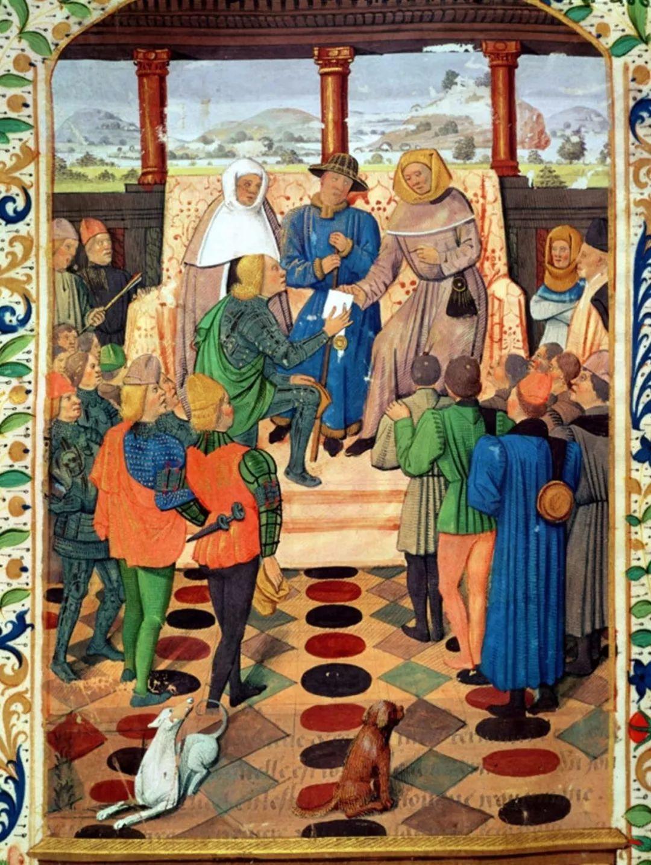 le jouvencel《圣女贞德收到了来自查理七世的信件》,纤细画,1406-147